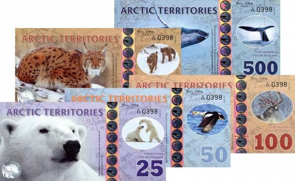 25-500 Dollars Polymer-Banknoten-Set Arktische Territorien 2017
