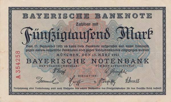 50.000 Mark Bayern Bayerische Notenbank 1923