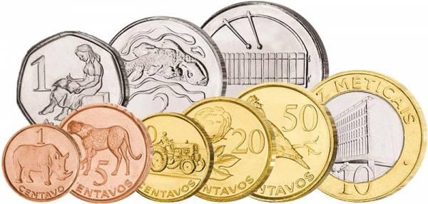 1 Centavo - 10 Meticais Kursmünzensatz Mosambik