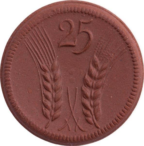 25 Pfennige Münsterberg Schlesien Böttger-Steinzeug 1921