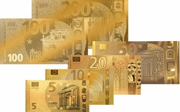 5 - 200 Euro Goldfolienbanknoten-Set