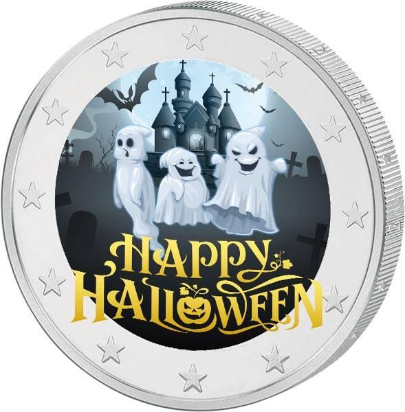 2 Euro BRD mit Farb-Applikation Happy Halloween 2020