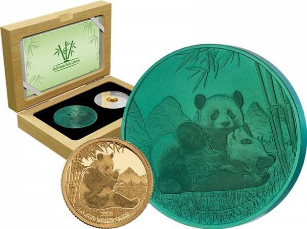 1 + 10 Dollars Barbados Panda Titanium Set 2020