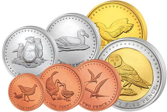 1/2 - 25 Pence Kursmünzensatz Gough Inseln 2009