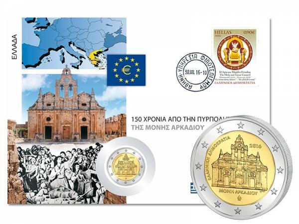 2 Euro Numisbrief Griechenland 150. Jahrestag des Falls von Kloster Arkadi