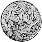 50 Groszy Polen Polnischer Adler 1938 Sehr schön