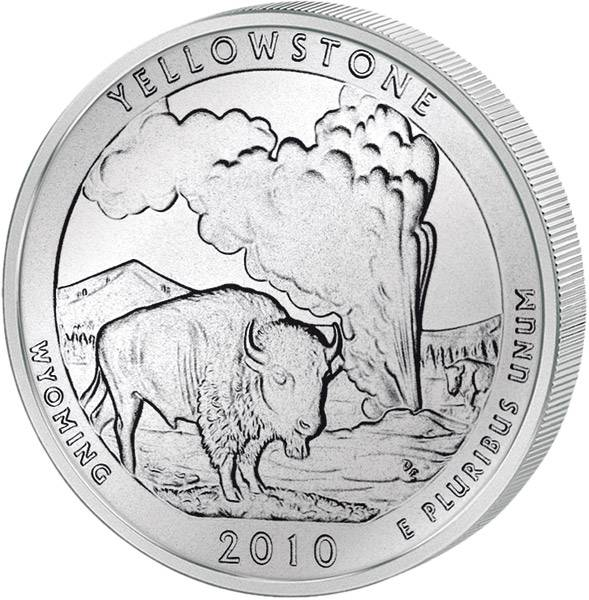 Quarter Dollar USA Wyoming Yellowstone 2010