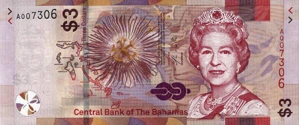 3 Dollars Bahamas Banknote Queen Elisabeth II 2019