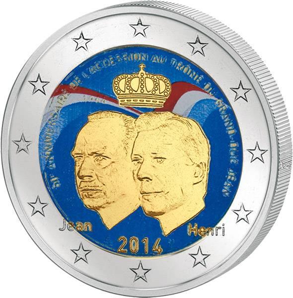 2 Euro Luxemburg Thronbesteigung Großherzog Jean  mit Farb-Applikation 2014 prägefrisch