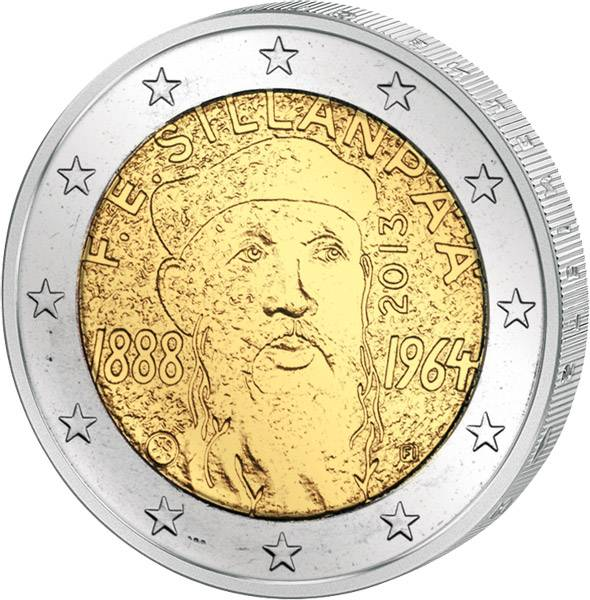 2 Euro Finnland 125. Geburtstag Sillanpää 2013 prägefrisch