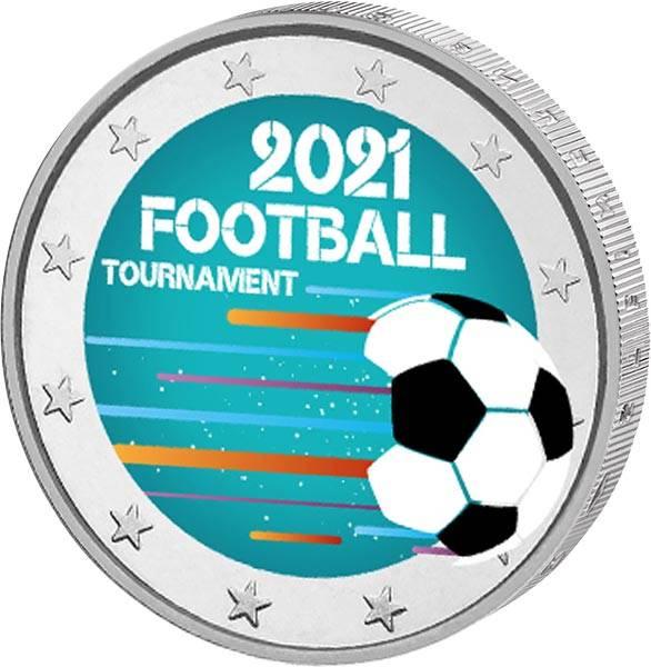 2 Euro BRD Fußballtunier 2021 mit Farb-Applikation