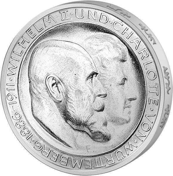 3 Mark Württemberg Silberhochzeit König Wilhelm II. 1911 Vorzüglich