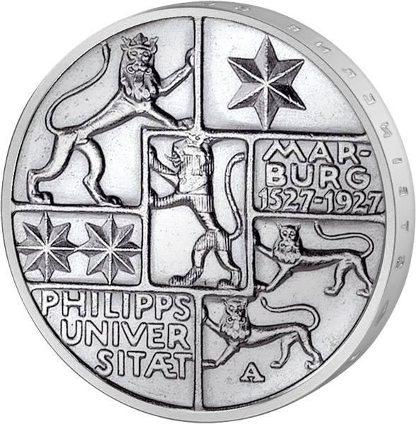 3 Mark Weimarer Republik Marburg 1927 Vorzüglich