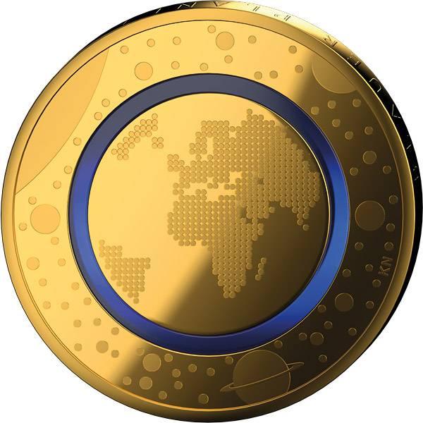 5 Euro BRD Blauer Planet Erde vollvergoldet