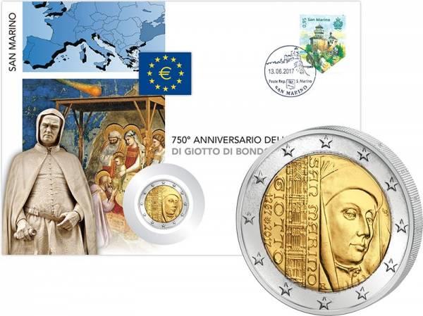 2 Euro Numisbrief San Marino 750. Geburtstag von Giotto di Bondone 2017