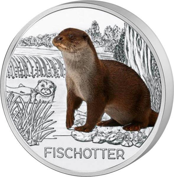 3 Euro Österreich Tier-Taler Fischotter 2019