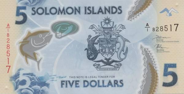 5 Dollars Salomonen Polymer-Banknote Speerfischen 2019