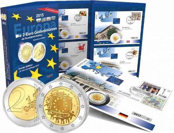 19 x 2 Euro Numisbrief Gemeinschaftsausgabe 30 Jahre EU-Flagge 2015 prägefrisch
