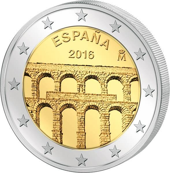 2 Euro Spanien Unesco-Welterbe Aquädukt von Segovia 2016 prägefrisch