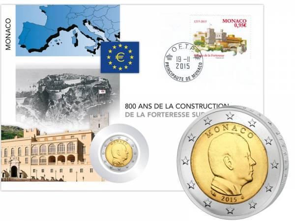 2 Euro Numisbrief Monaco 800 Jahre Altes Schloss auf dem Felsen Le Rocher 2015