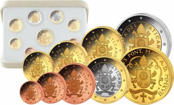 Euro-Kursmünzensatz Vatikan 2017 inklusive 50-Euro-Goldgedenkmünze