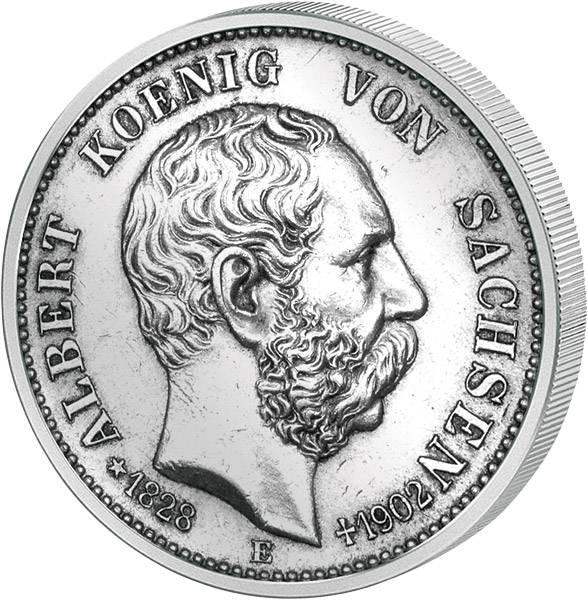 2 Mark Sachsen Albert - Auf seinen Tod 1902 Vorzüglich