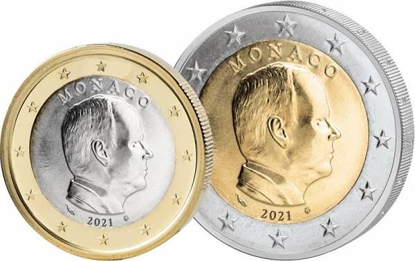 1 + 2 Euro Monaco Fürst Albert II. 2021