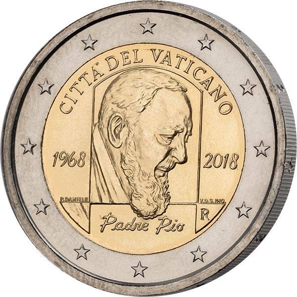 2 Euro Vatikan Ersttagsedition 50. Todestag von Padre Pio 2018