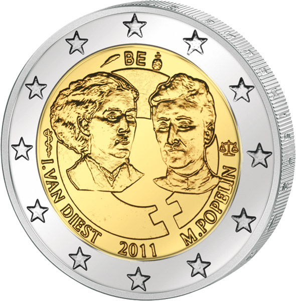 2 Euro Belgien 100 Internationaler Frauentag 2011 Belgien 2