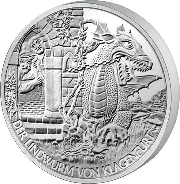 10 Euro Österreich Lindwurm von Klagenfurt 2011 handgehoben