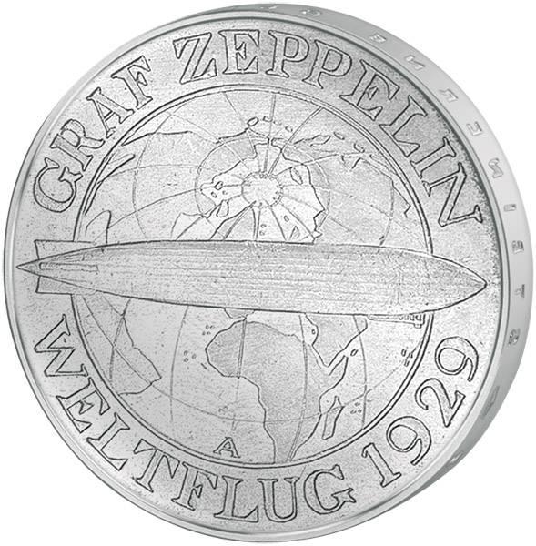 3 Mark Weimarer Republik Weltflug Graf Zeppelin 1930 vorzüglich