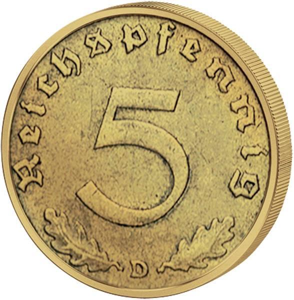 5 Reichspfennig Hakenkreuz 1936-39 (ss-vz)
