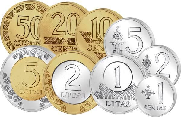 1 Centas-5 Litai (9 Werte) Kursmünzensatz Litauen 2009 Stempelglanz