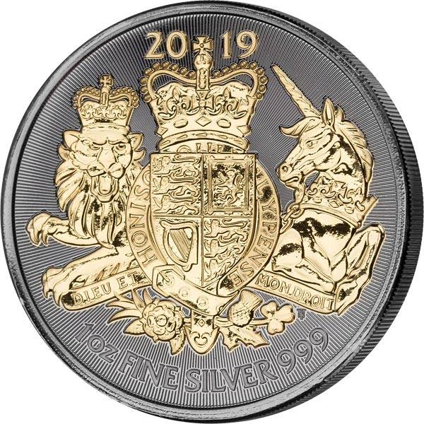 1 Unze Silber Großbritannien Royal Arms 2019 Golden Enigma Edition