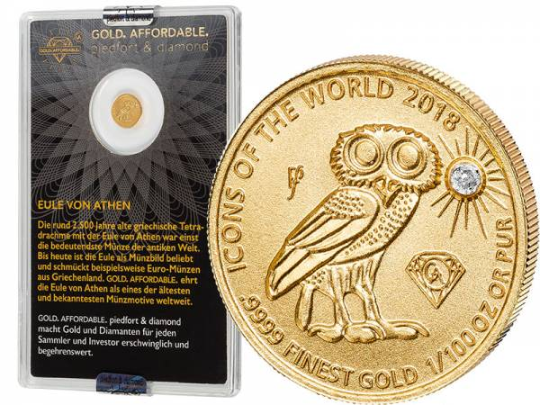 10 Francs Ruanda Gold Affordable Diamond Edition Eule von Athen 2018