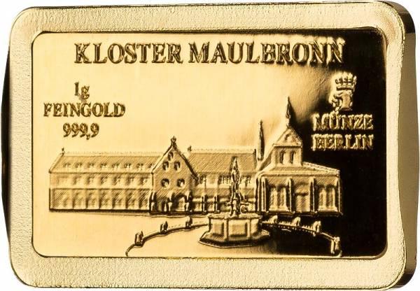 1 Gramm Goldbarren Deutsche Wahrzeichen Kloster Maulbronn