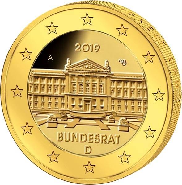 2 Euro BRD Bundesrat 2019 vollvergoldet