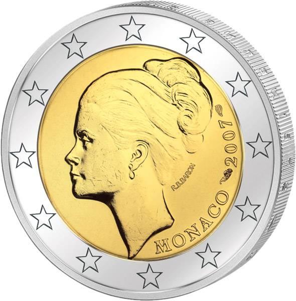 2 Euro Monaco 25. Todestag Grace Kelly 2007 Stempelglanz