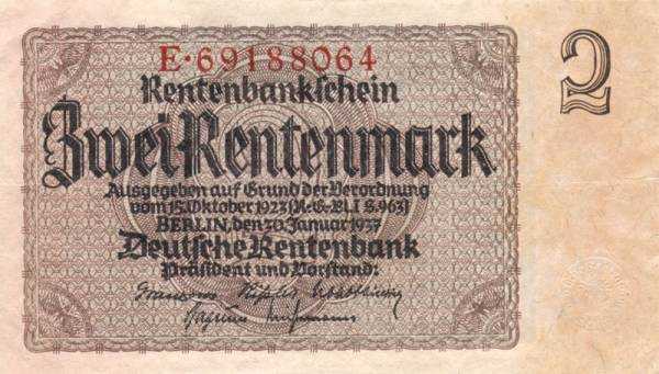 2 Rentenmark Deutschland 1937 gebraucht