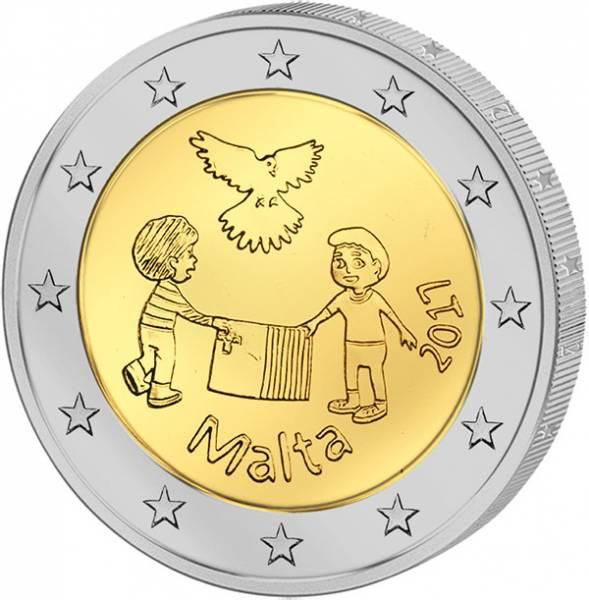 2 Euro Malta Von Kindern mit Solidarität Frieden 2017