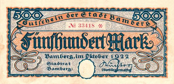 500 Mark Bamberg 1922 Deutschland