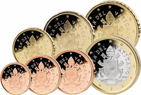1 Cent - 1 Euro Kursmünzen Vatikan 2020
