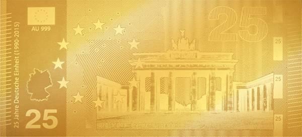 25 Euro Goldnote Brandenburger Tor