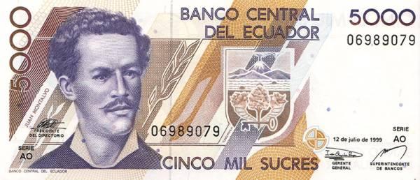 5.000-Sucres-Banknote Ecuador Juan Montalvo 1999