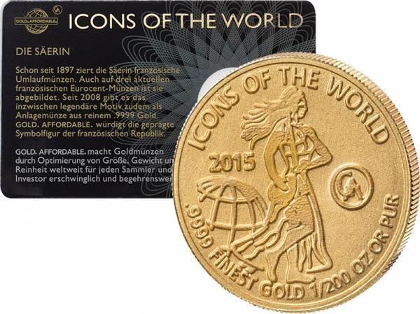 1/200 Unze Gold Ruanda Säerin 2015