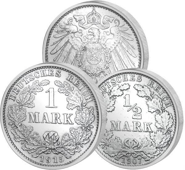 1/2 und 1 Mark BRD großer Adler 1891-1919 Sehr schön