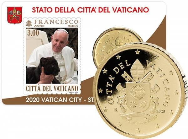 50 Cent Vatikan Stamp und Coincard Papst Franziskus 2020