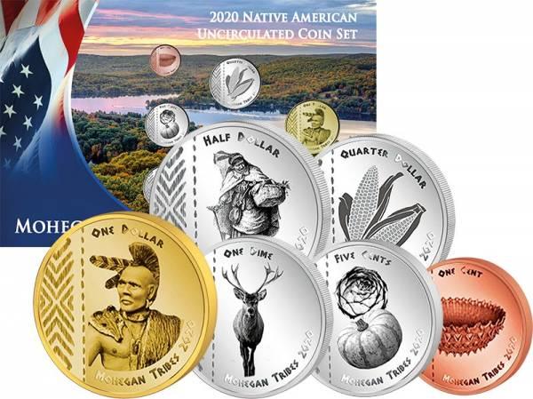 1 Cent - 1 Dollar Kursmünzensatz USA Kursmünzen der Mohegan 2020