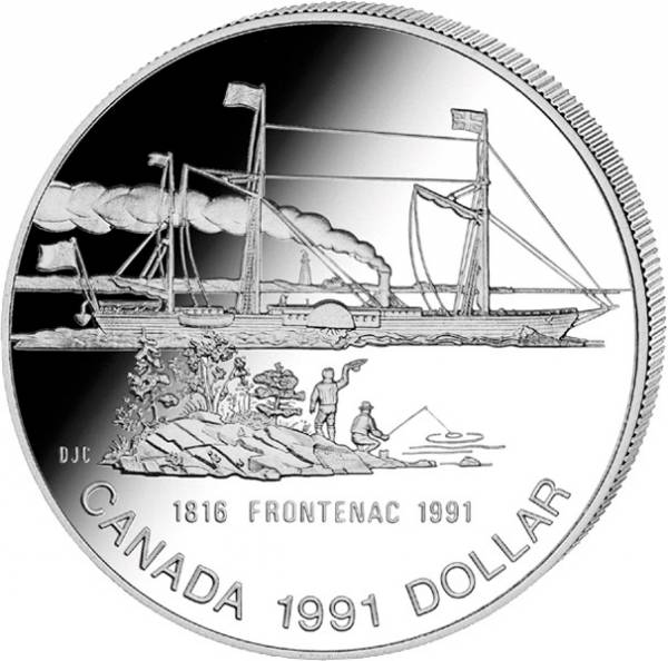 1 Dollar  Kanada Dampfschiff Frontenac 1991  Prooflike