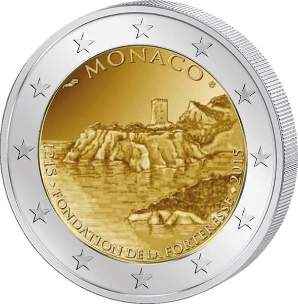 2 Euro Monaco 800 Jahre Bau des ersten Schlosses auf dem Felsen von Monaco 2015 Polierte Platte (PP)